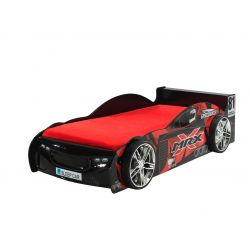 Lit voiture enfant moderne rouge/noir Speedo