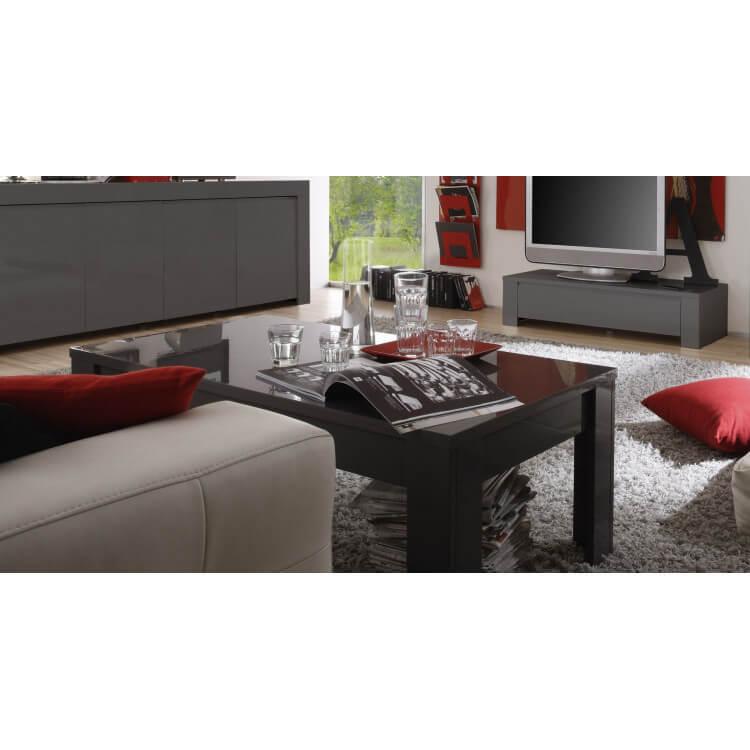 Table basse design laqué gris Twister