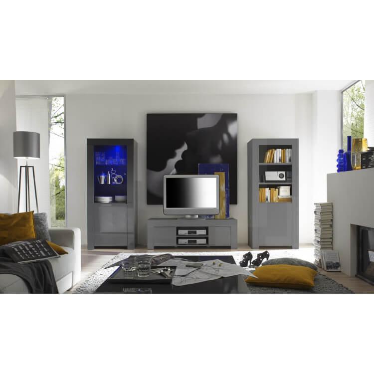 Meuble TV laqué gris design Twister
