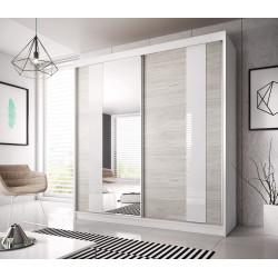 Armoire adulte contemporaine chêne clair/blanc/gris Heliane