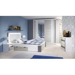 Chambre adulte contemporaine chêne clair/blanc/gris Heliane