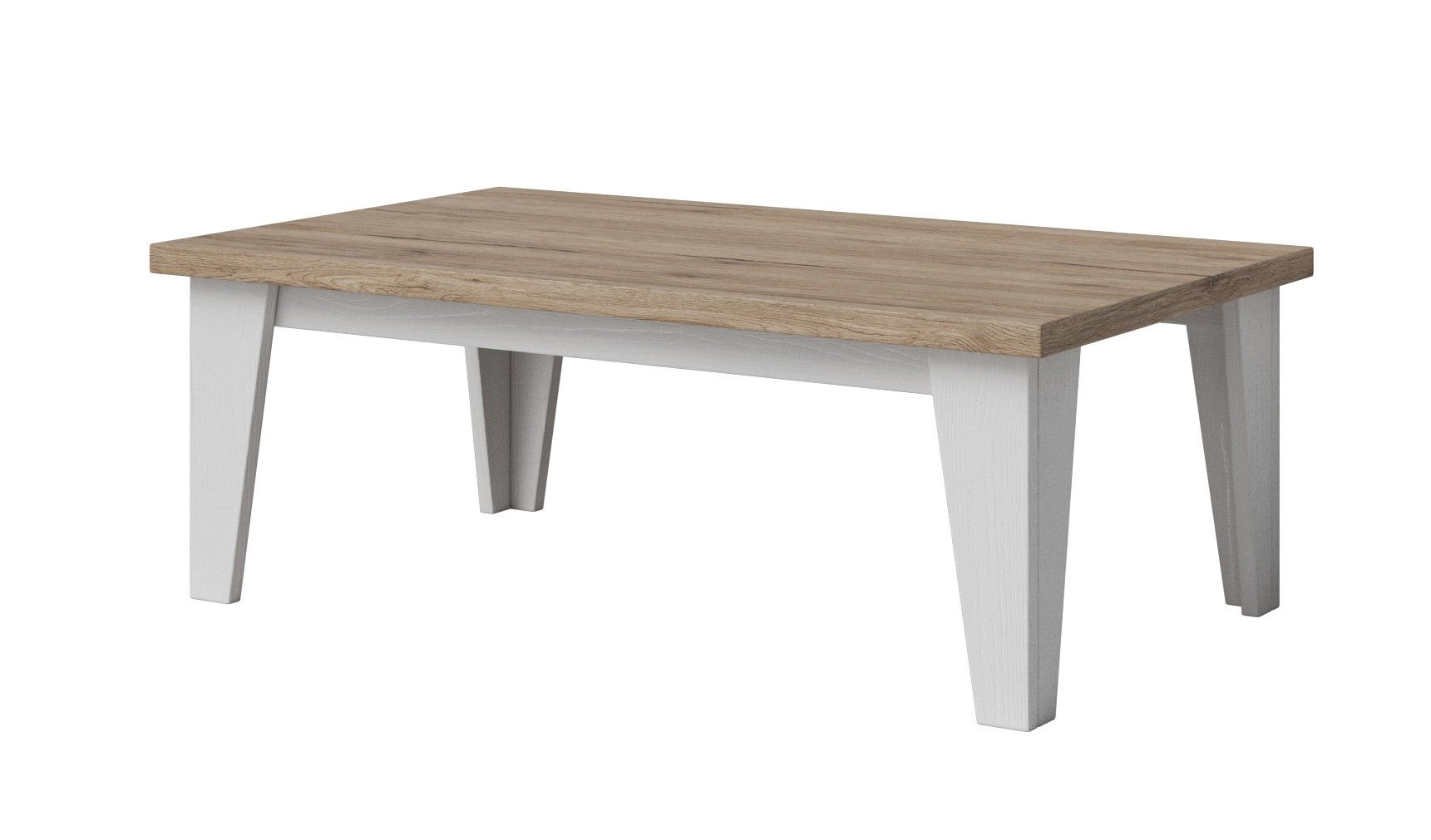Table basse scandinave chêne/blanc veiné mat Melanie
