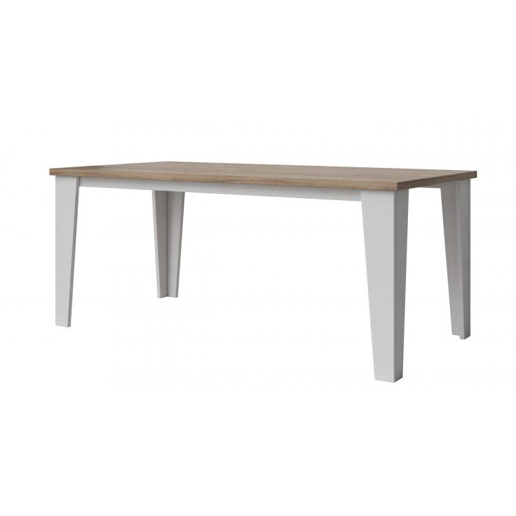 Table de salle à manger scandinave chêne/blanc veiné mat Melanie