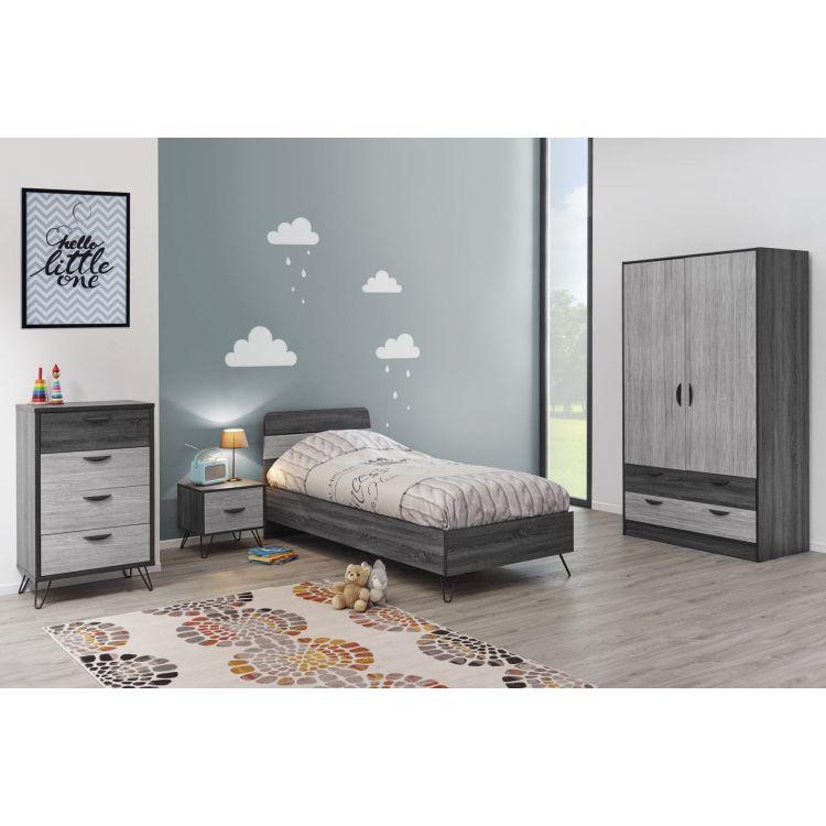 Chambre enfant moderne chêne gris/gris cendré Koaline