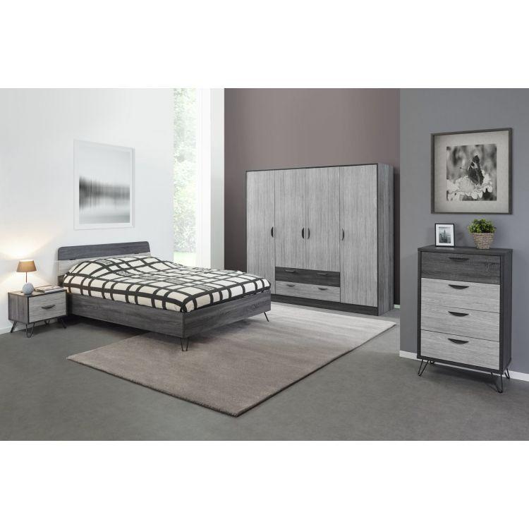 Chambre adulte moderne chêne gris/gris cendré Koaline