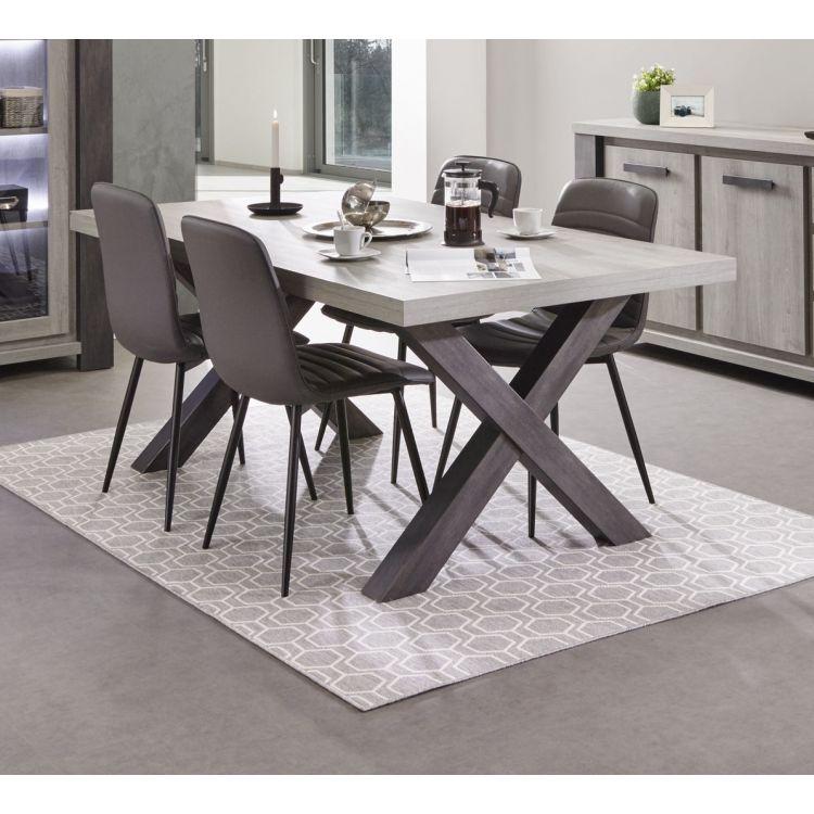 Table de salle à manger contemporaine chêne clair/chêne noir Ariane