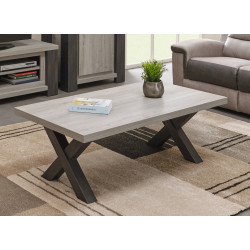 Table basse contemporaine chêne clair/chêne foncé Ariane