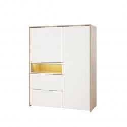 Vaisselier/argentier contemporain 118 cm chêne canberra/blanc Lazare