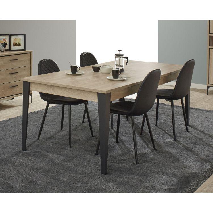 Table de salle à manger industrielle chêne canberra Montego