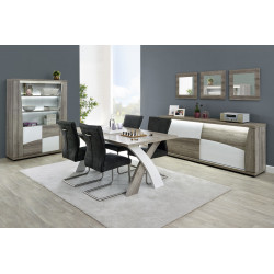 Salle à manger moderne chêne/blanc Saphir