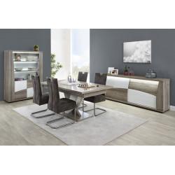 Salle à manger moderne chêne/blanc Saphir II