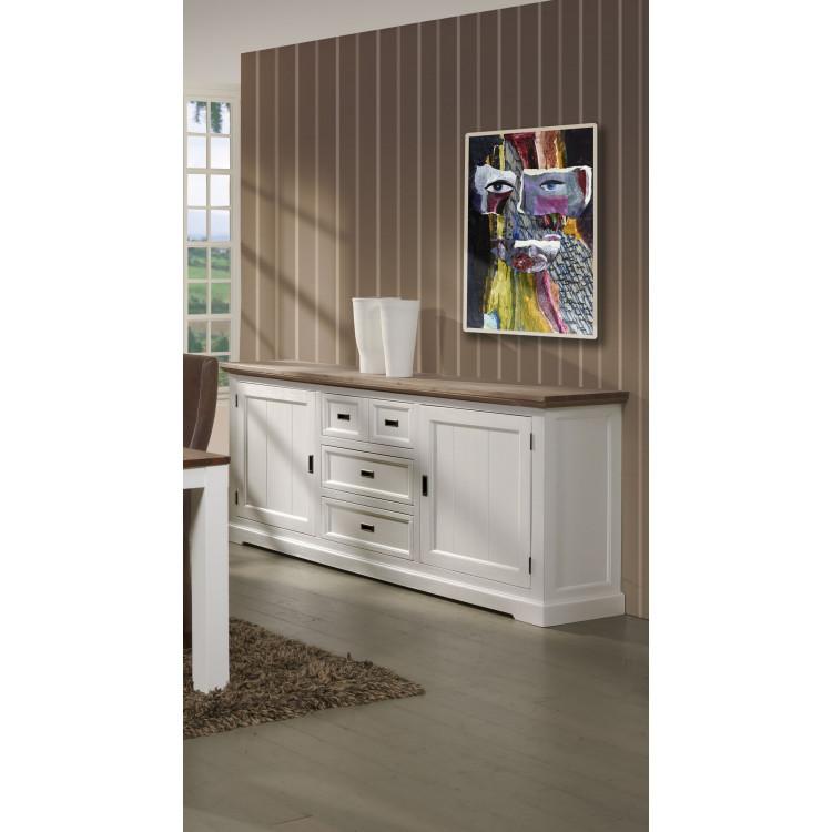 Buffet/bahut contemporain 225 cm havana/blanc Kiaro