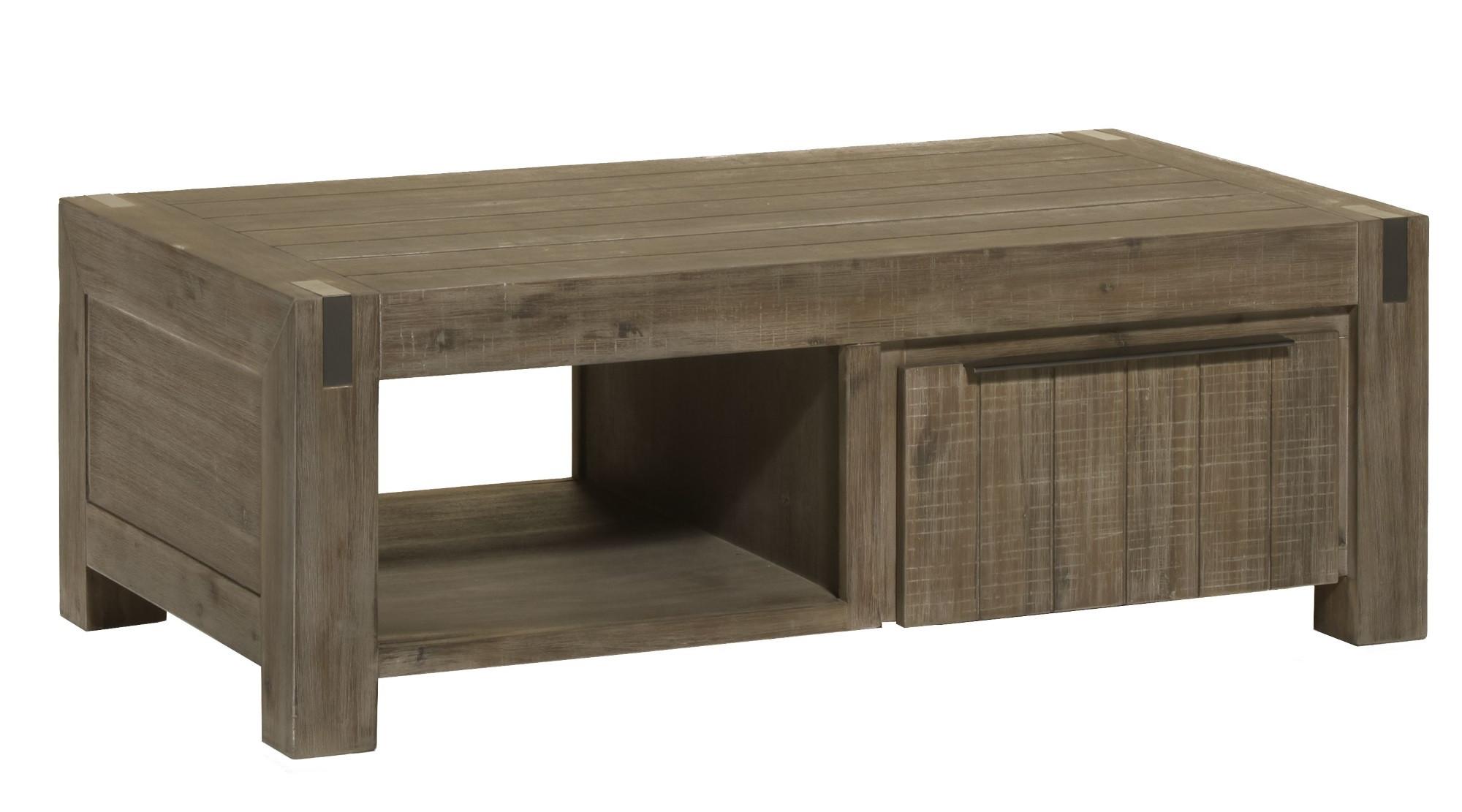 Table basse contemporaine bois massif gris brumeux Kalija