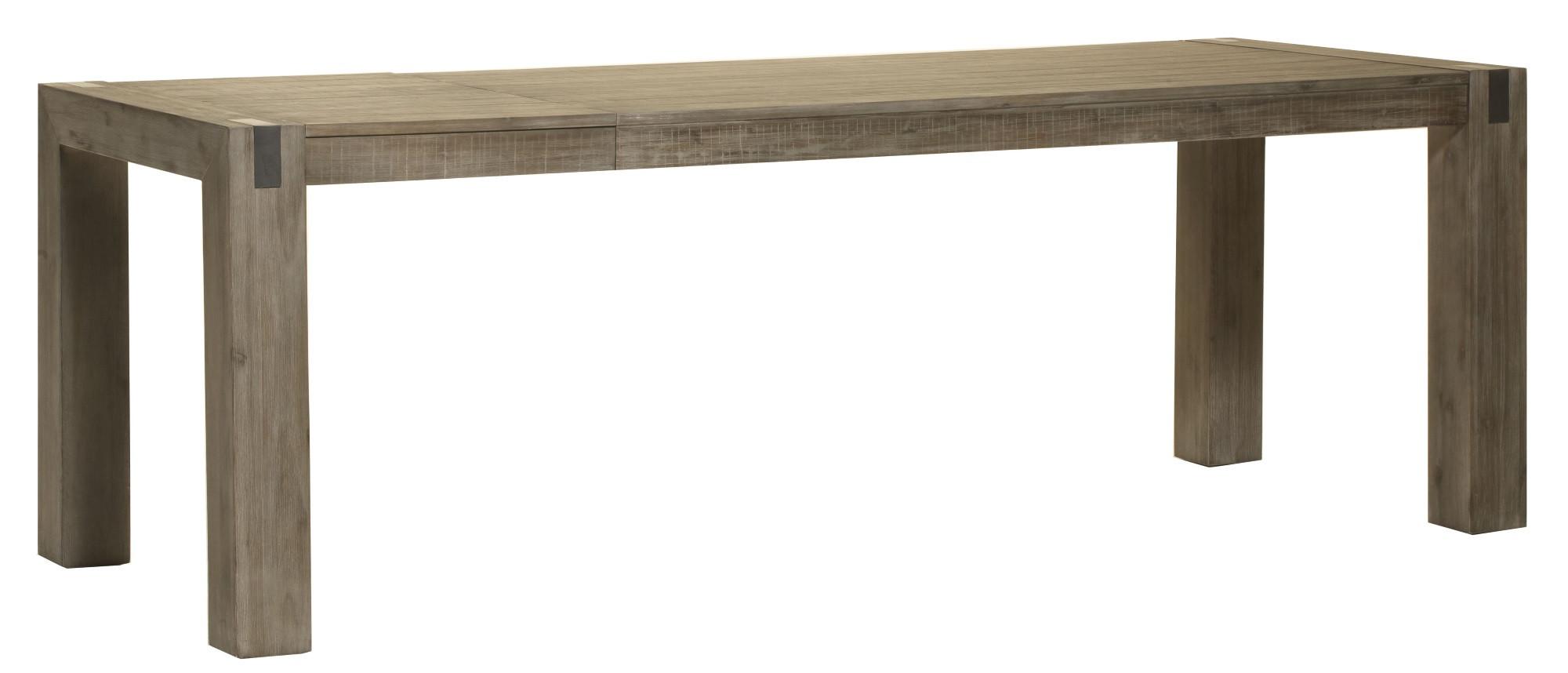 Table de salle à manger contemporaine extensible bois massif gris brumeux Kalija