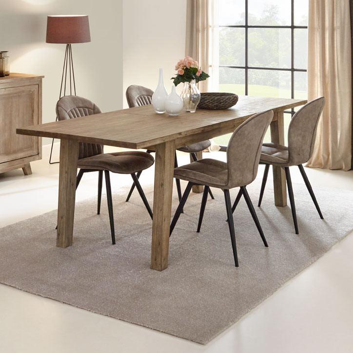 Table de salle manger style nature en bois massif ch ne - Table de salle a manger en bois massif ...