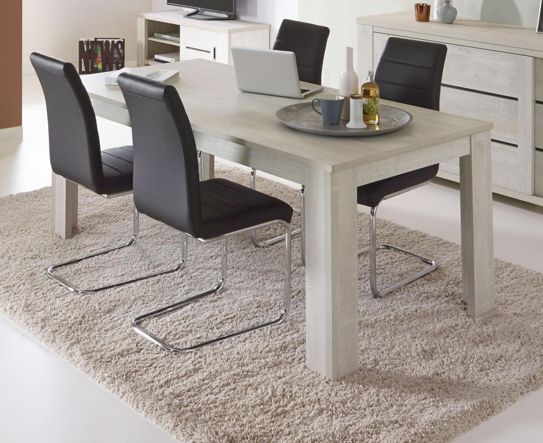 Table de salle à manger contemporaine chêne clair Marijo