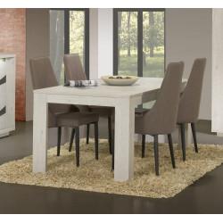 Table de salle à manger extensible contemporaine chêne blanc Joelle
