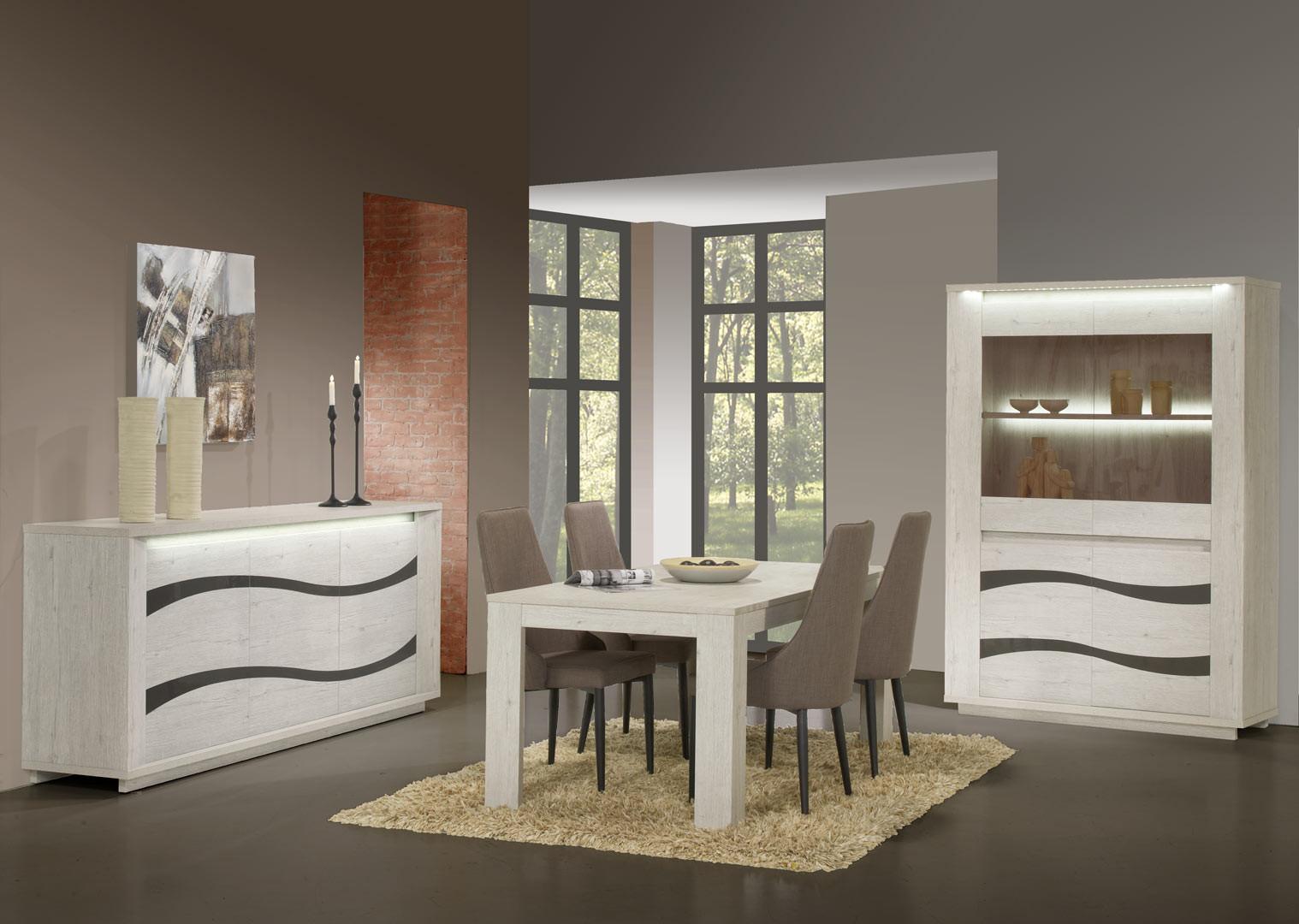 Salle à manger contemporaine chêne blanc Joelle