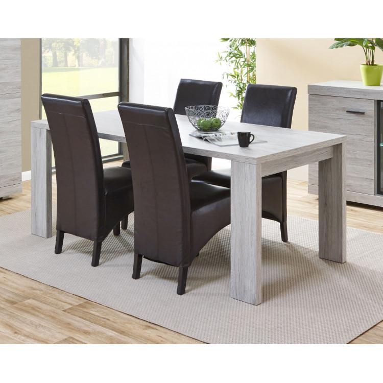 Table de salle à manger contemporaine chêne gris Merry
