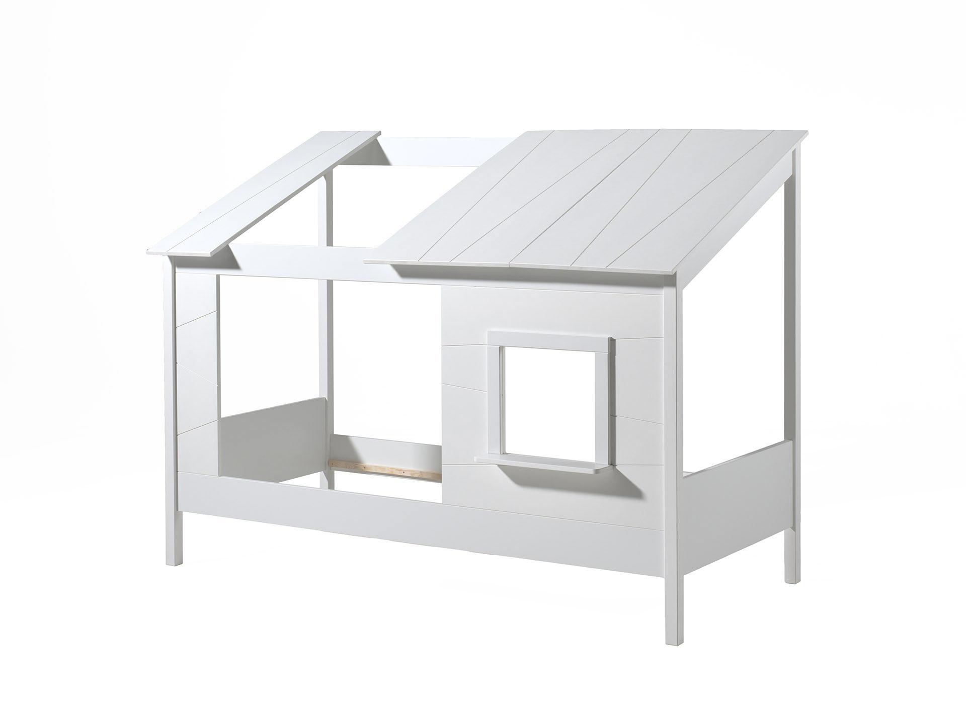 Lit cabane enfant moderne pin massif laqué blanc Madison II