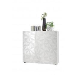 Vaisselier/argentier design laqué blanc sérigraphié Andreasse