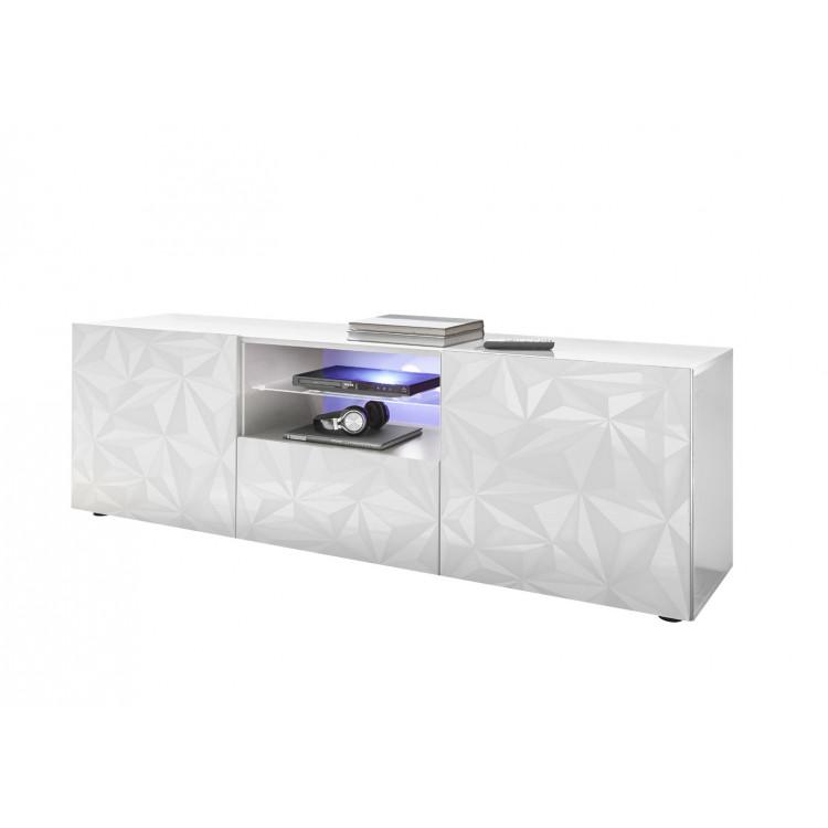 Meuble TV design 181 cm laqué blanc sérigraphié Andreasse