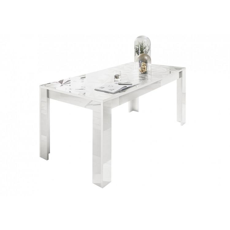 Table de salle à manger design laqué blanc sérigraphié Andreasse