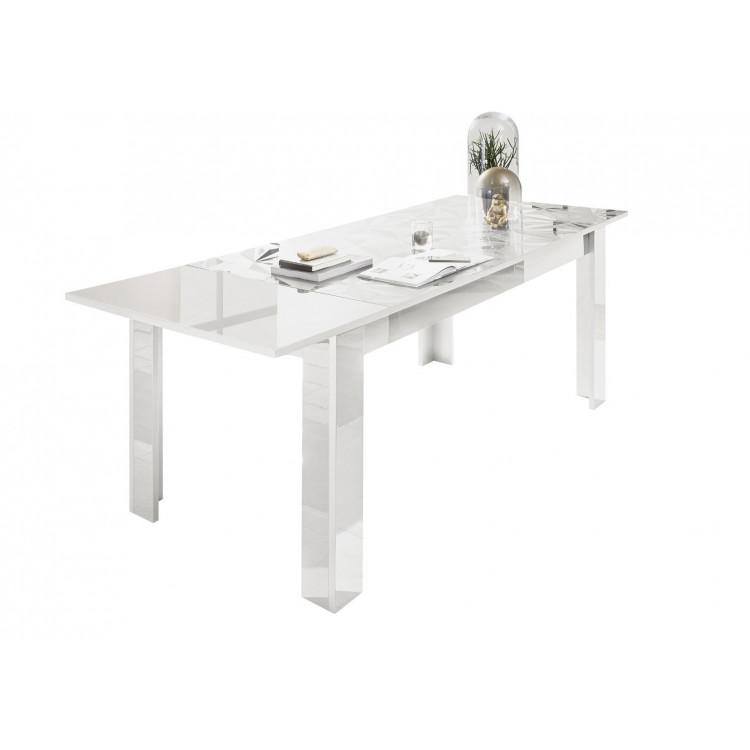 Table de salle à manger extensible design laqué blanc sérigraphié Andreasse
