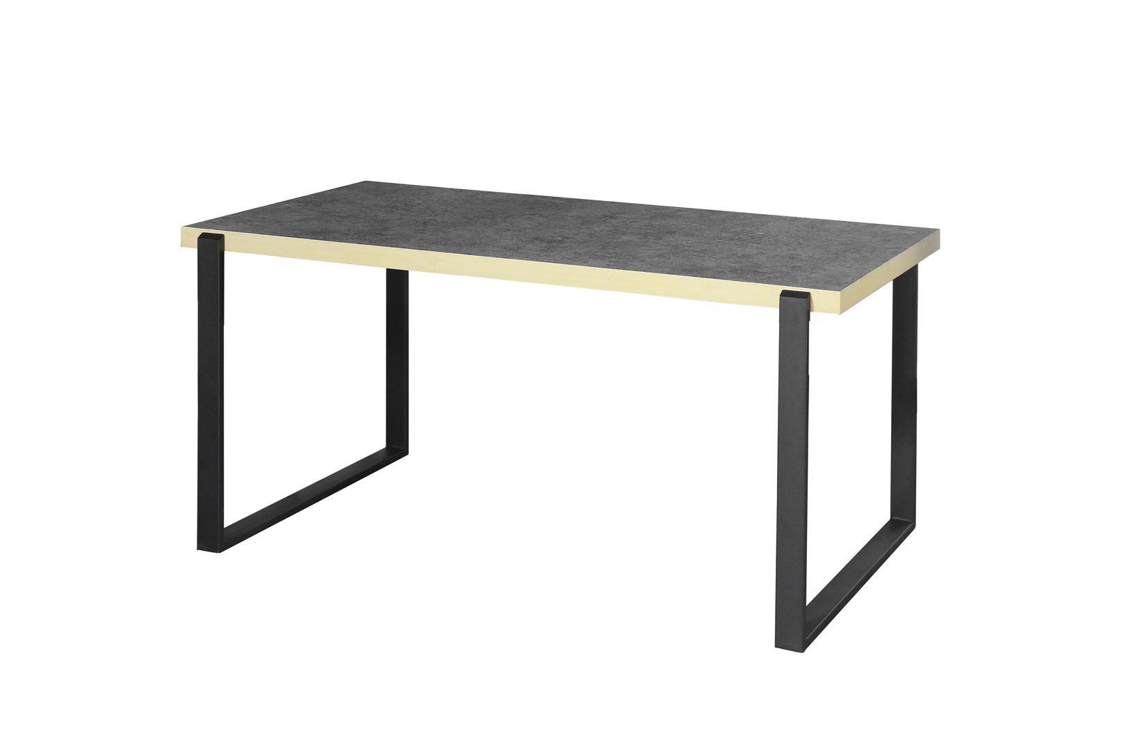 Table À Manger Industrielle table de salle à manger industrielle noir mat/béton magnolia