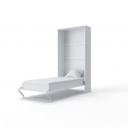 Lit armoire moderne 1 personne blanc laqué Ingénus