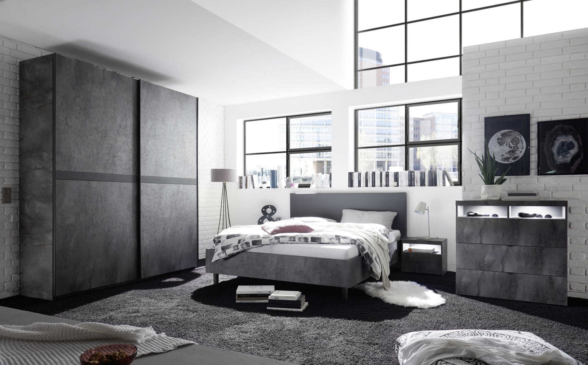 Chambre adulte moderne gris béton Dark