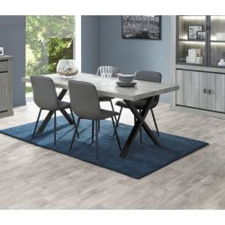 Table de salle à manger contemporaine chêne gris Corrie