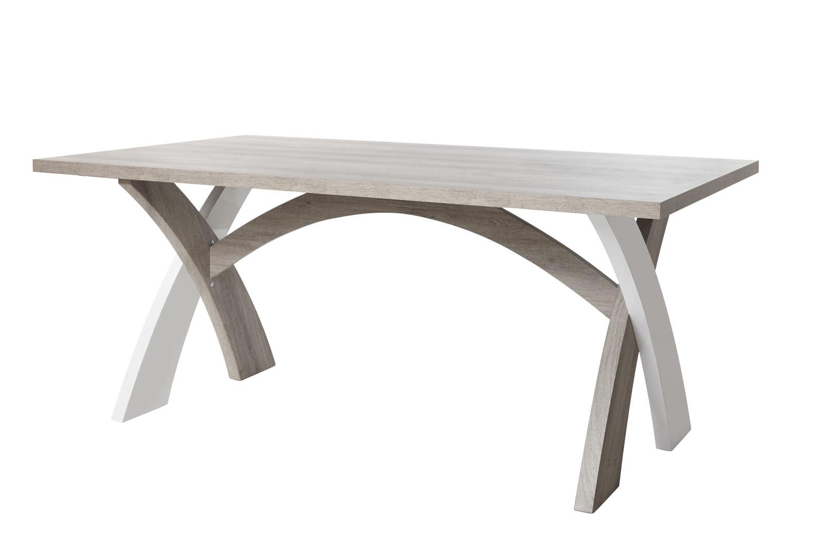 Table de salle à manger moderne chêne/blanc Saphir