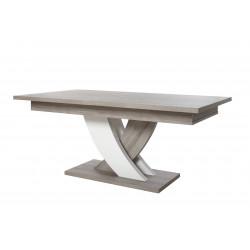 Table de salle à manger extensible moderne chêne/blanc Saphir