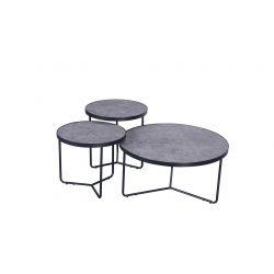 Tables basses industrielles béton/noir (lot de 3) Dora