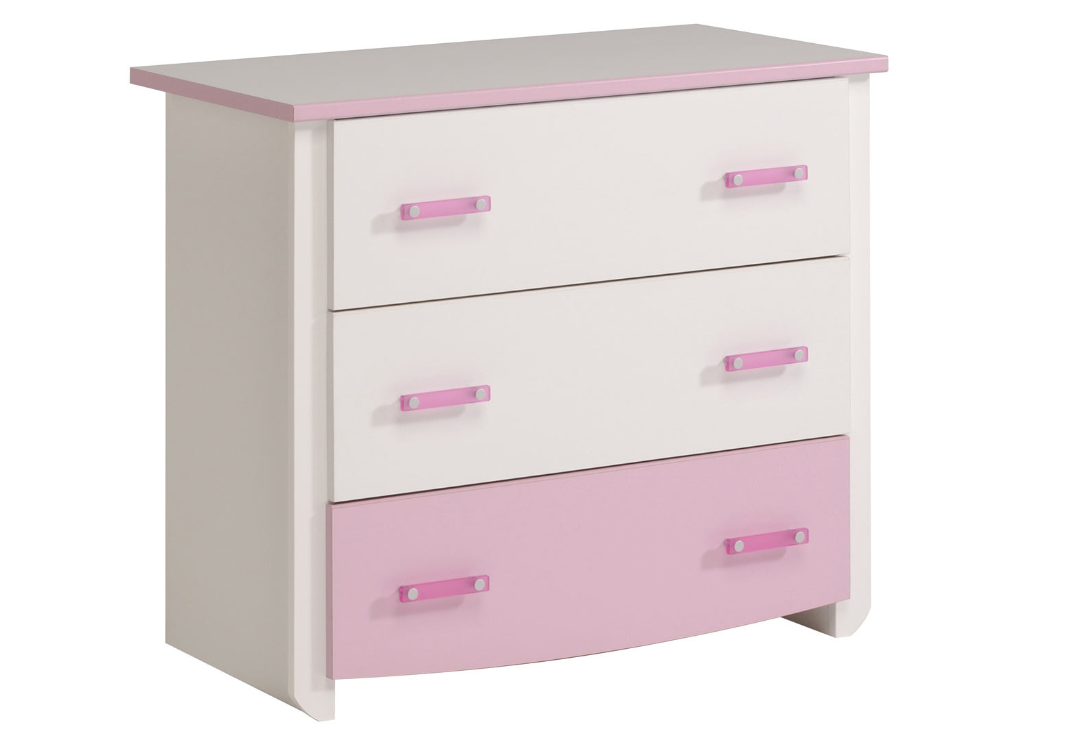 Commode enfant moderne blanc/rose Praline