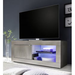 Meuble TV contemporain 140 cm pin blanc Albina