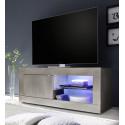 Meuble TV contemporain 140 cm pin blanc Albina