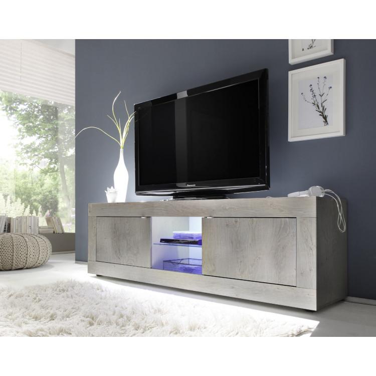 Meuble TV contemporain 181 cm pin blanc Albina