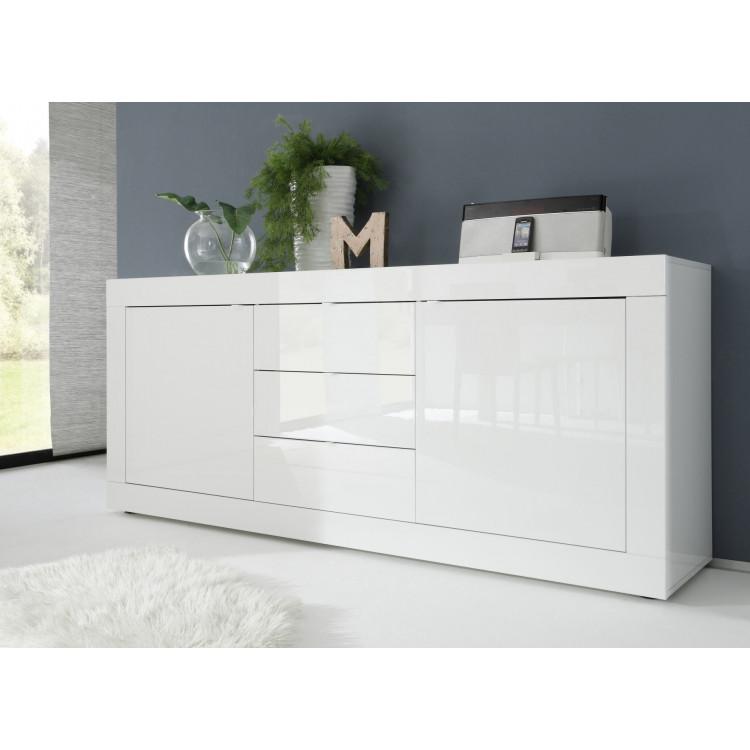 Buffet/bahut moderne 210 cm blanc Agathe