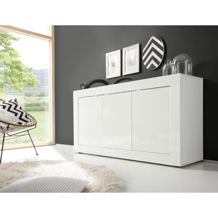 Buffet/bahut moderne 160 cm blanc Agathe
