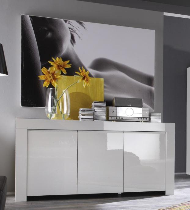 Buffet/bahut design laqué blanc 160 cm Twist