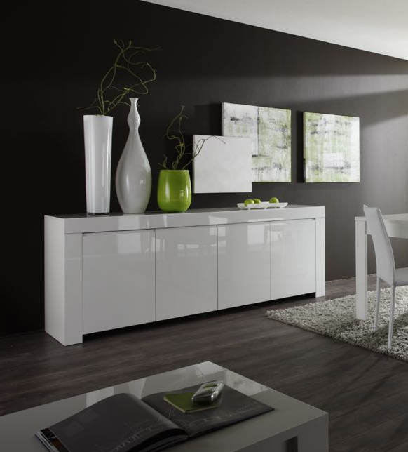 Buffet/bahut design laqué blanc 210 cm Twist