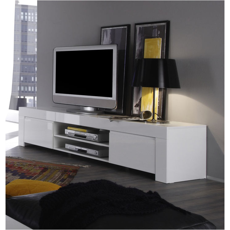 Meuble Tv Design Laque Blanc Twist Matelpro