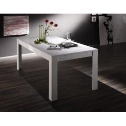 Table de salle à manger design laquée blanche Twist