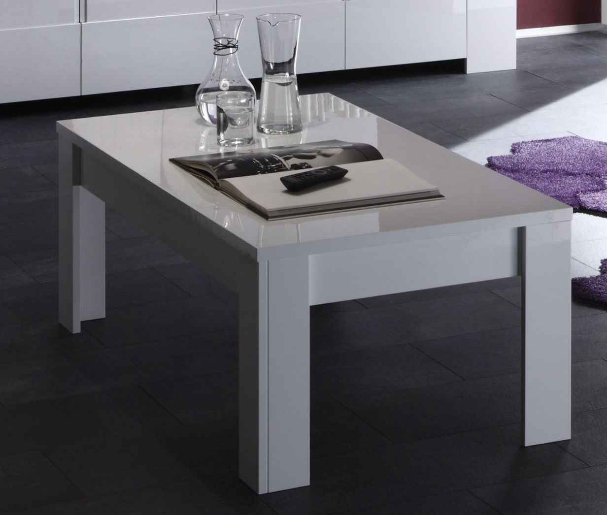 Table basse design laquée blanche Twist