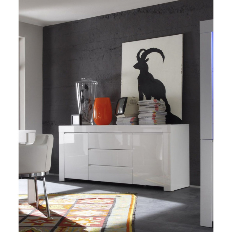Buffet/bahut design 190 cm blanc laqué Twist