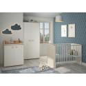 Chambre bébé moderne chêne clair/blanc Gaby