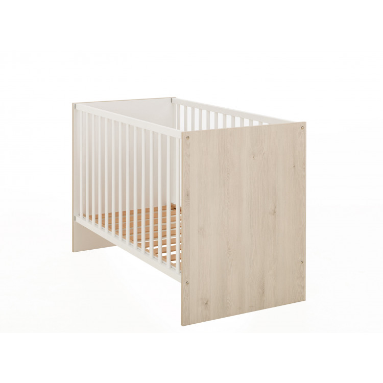 Lit bébé à barreaux moderne chêne clair/blanc Gaby