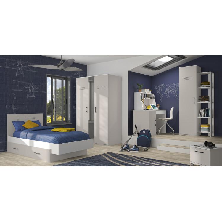 Chambre enfant moderne blanc/gris Séraphin